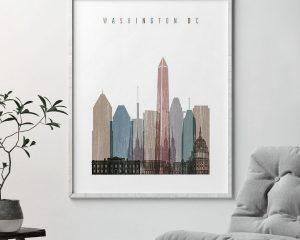 Washington DC skyline poster distressed 1 second