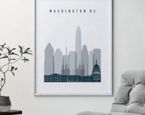 Washington DC skyline poster grey blue second