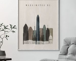 Washington DC skyline print distressed 2 second