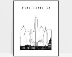 Washington DC poster black and white