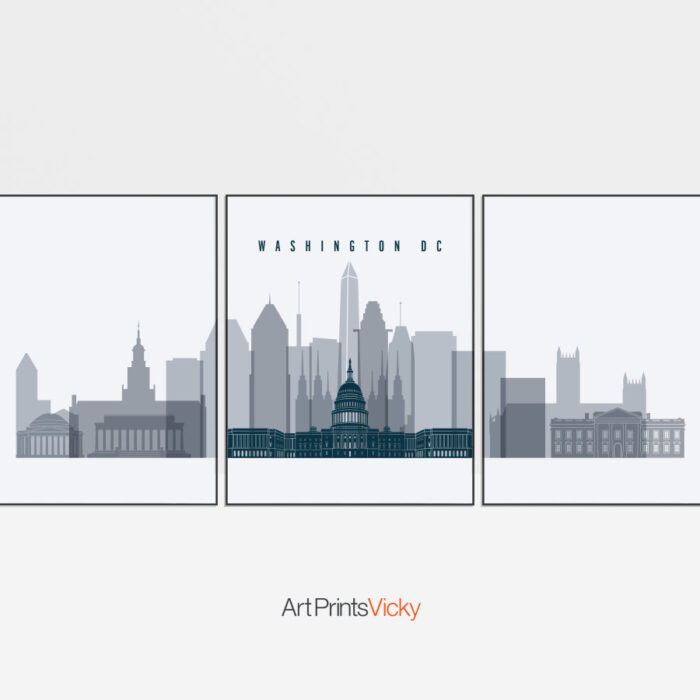 Washington DC skyline set of 3 prints grey-blue