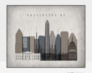 Washington DC art print landscape retro