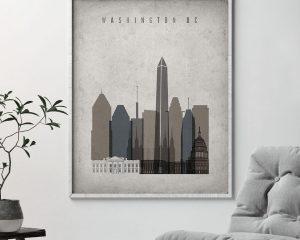 Washington DC skyline wall art retro second