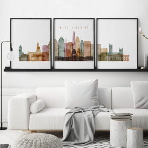 Washington DC 3 piece wall art watercolor 1 second