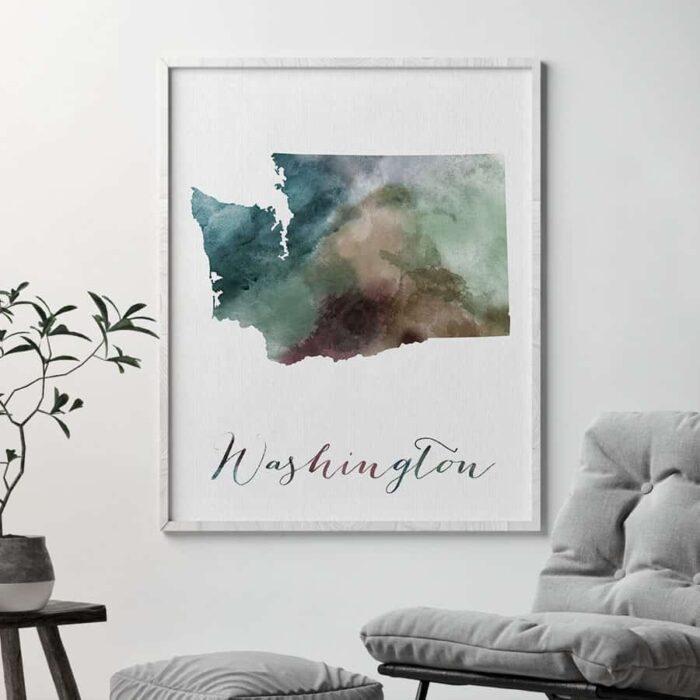Washington State map print second