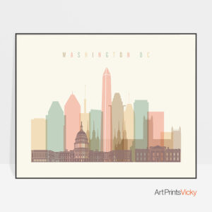 Washington DC travel poster pastel cream landscape