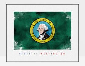 Washington State flag art print
