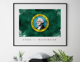 Washington State flag art print second