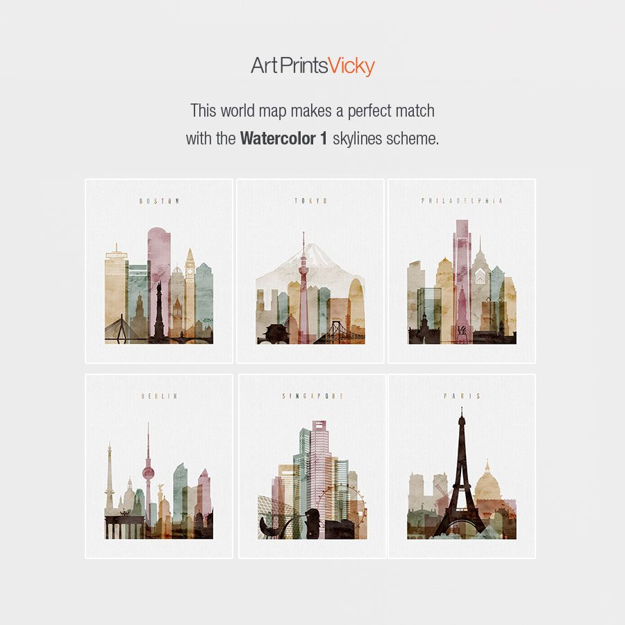 Watercolor 1 skylines posters map match