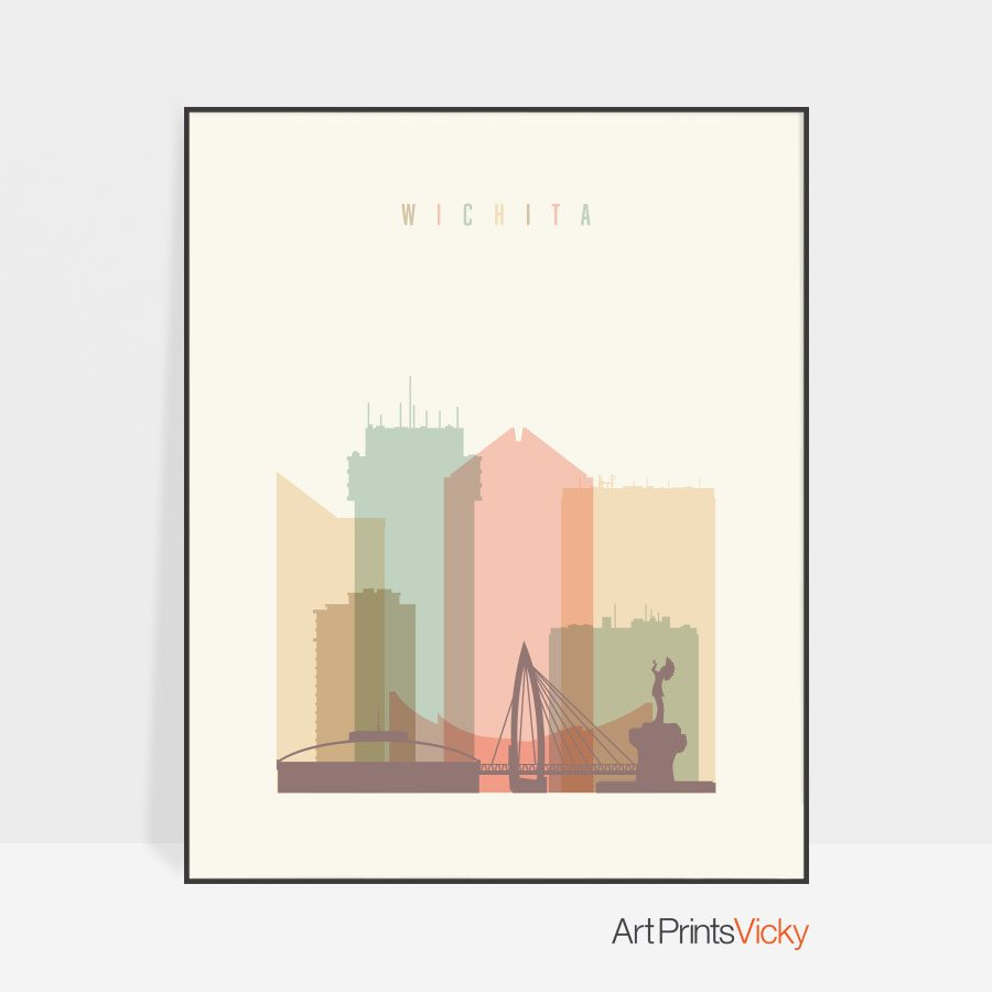 Wichita art print skyline pastel cream