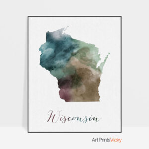 Wisconsin State map print