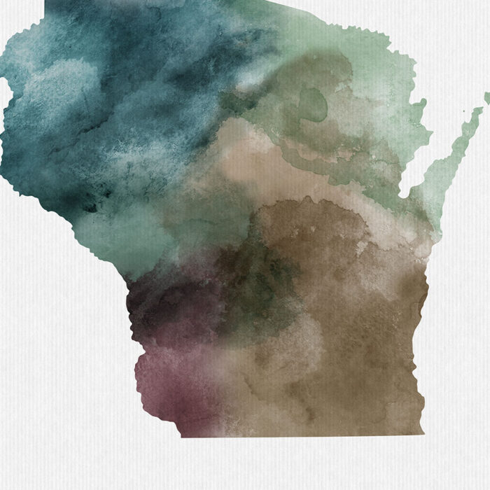 Wisconsin State map print detail