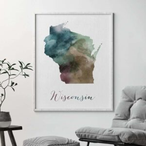 Wisconsin State map print second