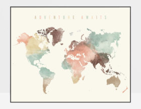 World Map Poster Adventure Awaits pastel cream