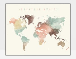 World Map Adventure Awaits pastel cream