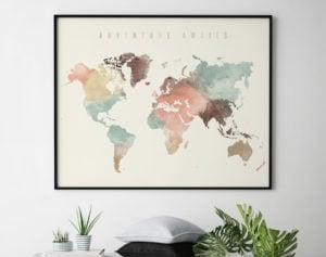 World Map Poster Adventure Awaits pastel cream second