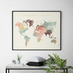 World Map Poster Adventure Awaits pastel cream second