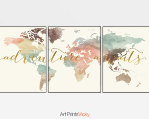 Set of 3 prints world map art adventure awaits pastel cream