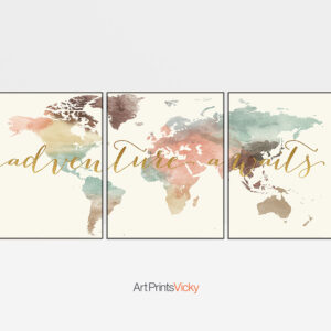 3 prints set map adventure awaits pastel