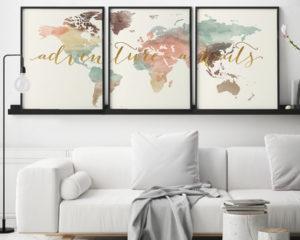 Set of 3 prints world map art adventure awaits pastel cream second