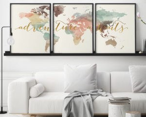 Set of 3 prints world map art adventure awaits pastel cream second