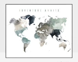 Adventure awaits world map earth tones 4