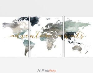 World map 3 piece wall art adventure awaits