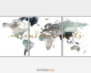 World map 3 piece wall art adventure awaits