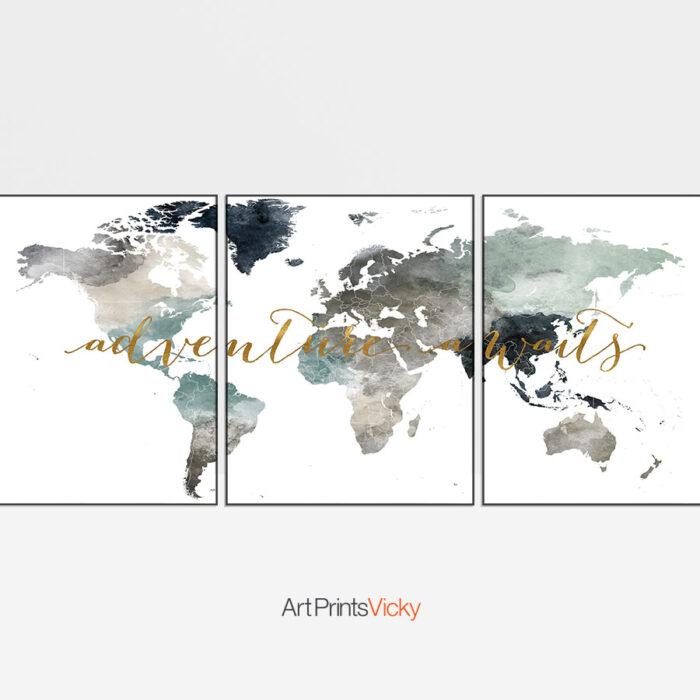 World Map 3 Piece Adventure Awaits