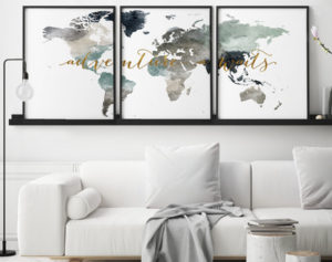 World map 3 piece wall art adventure awaits second