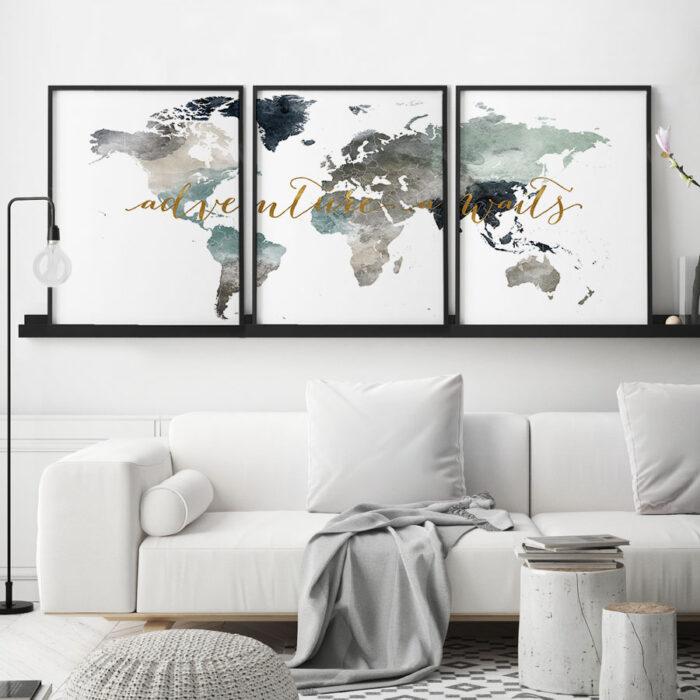 World map 3 piece wall art adventure awaits second