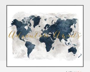 World map adventure awaits gold blue