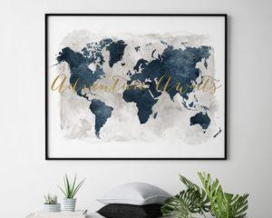 World map adventure awaits gold blue second