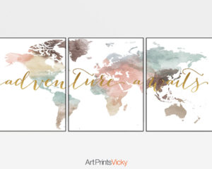 Adventure awaits world map pastel set of 3 prints