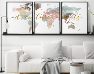 Adventure awaits world map pastel set of 3 prints second