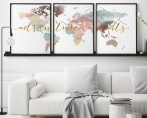 Adventure awaits world map pastel set of 3 prints second