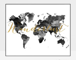 World map art wanderlust black and white