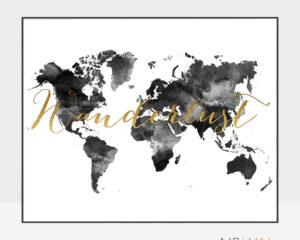 World map art wanderlust black and white