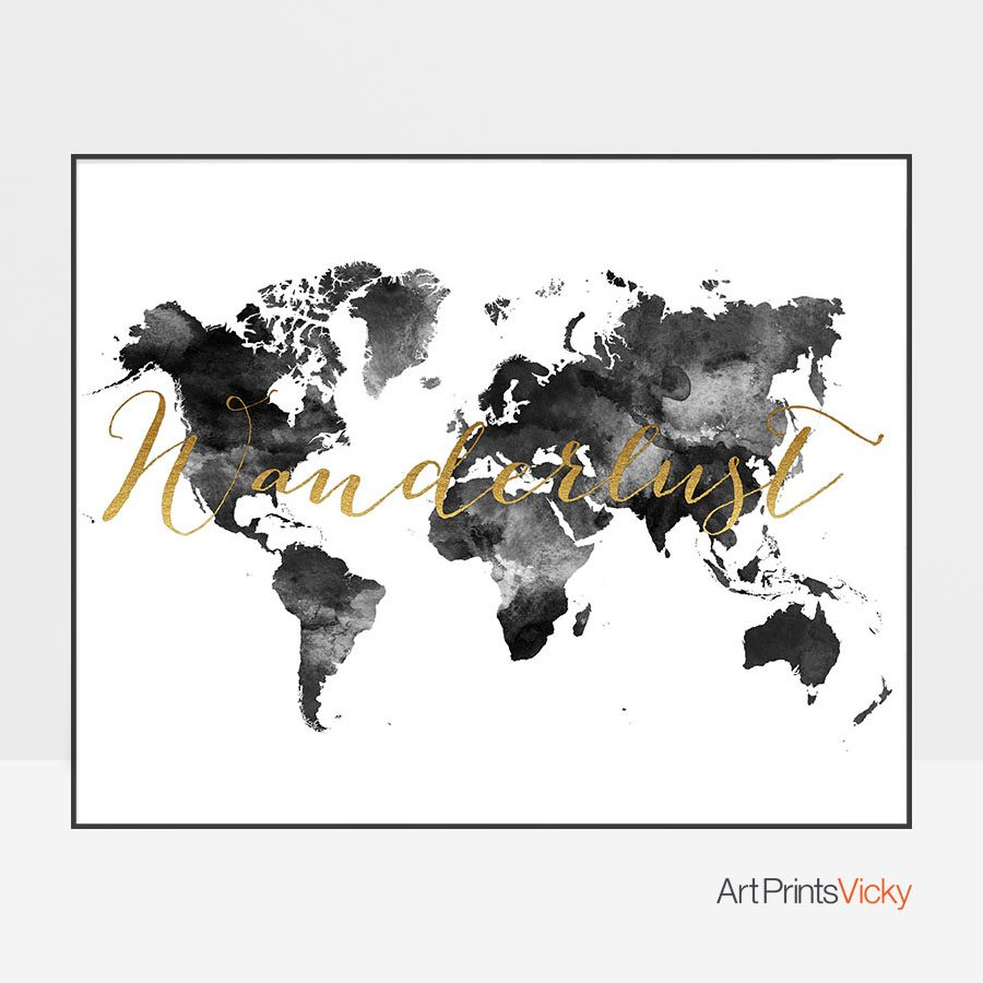 World map art wanderlust black and white artprintsvicky world map art wanderlust black and white gumiabroncs Images