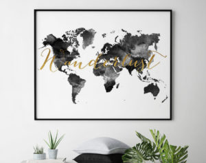 World map art wanderlust black and white second