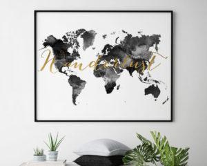World map art wanderlust black and white second