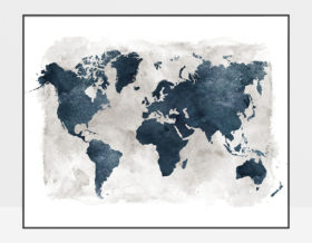 World map blue with grey background