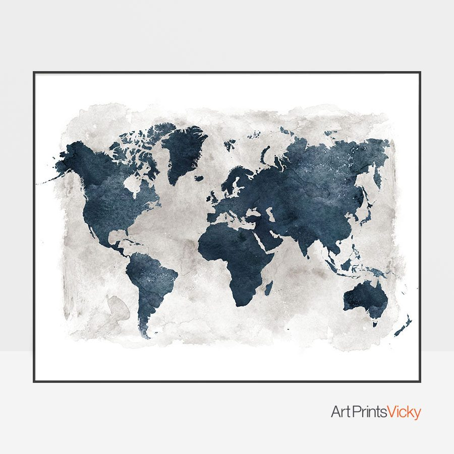 World map blue with grey background artprintsvicky world map blue with grey background gumiabroncs Gallery