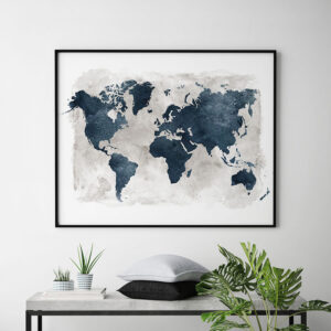 World map blue with grey background second