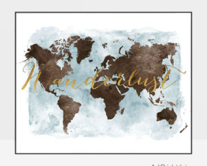 World map watercolor poster wanderlust brown gold