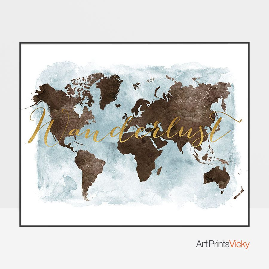 World Map Wanderlust Brown Gold Poster