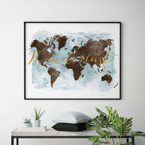 World map watercolor poster wanderlust brown gold second
