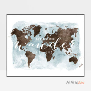 World map watercolor who wander brown