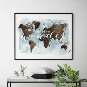 World map art watercolor who wander white brown second