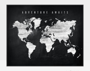 World map chalkboard adventure awaits